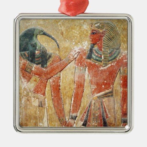 Dios Thoth con Seti I en la tumba de Seti Ornamento Para Reyes Magos