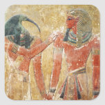 Dios Thoth con Seti I en la tumba de Seti Pegatinas Cuadradases Personalizadas