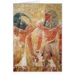 Dios Thoth con Seti I en la tumba de Seti Tarjetón
