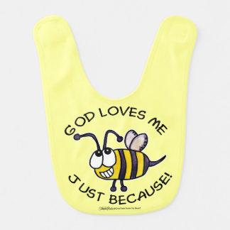Dios tonto de la abeja del insecto me ama apenas p baberos de bebé