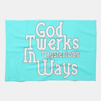 Dios Twerks de maneras misteriosas Toallas De Mano