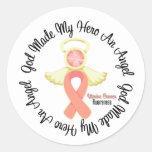 Dios uterino del cáncer hizo mi héroe un ángel pegatina redonda