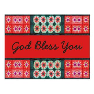 Dios verde rojo le bendice tarjeta postal