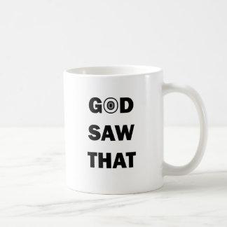 ¡Dios vio que - él ve todo! Taza Básica Blanca
