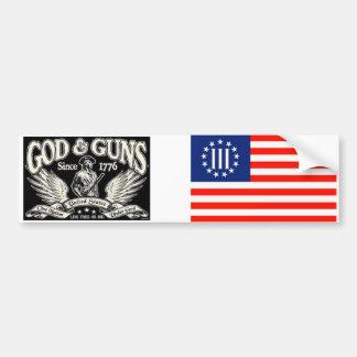 Dios y armas pegatina para auto