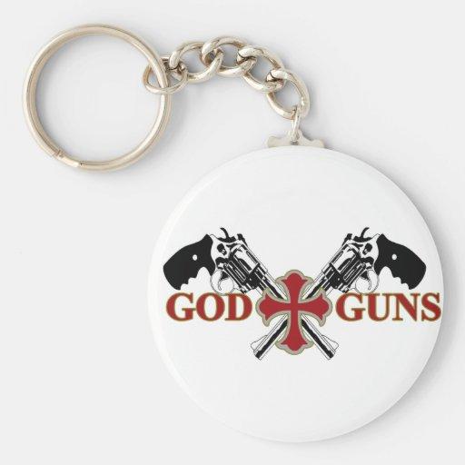 Dios y armas llaveros personalizados