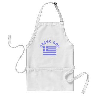 Dios y bandera griegos delantal