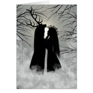 Dios y diosa del solsticio de invierno tarjeta de felicitación