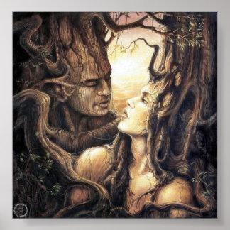 Dios y diosa paganos del bosque poster