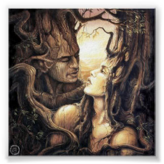 Dios y diosa paganos del bosque póster