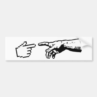 Dios y las manos de la máquina pegatina para auto