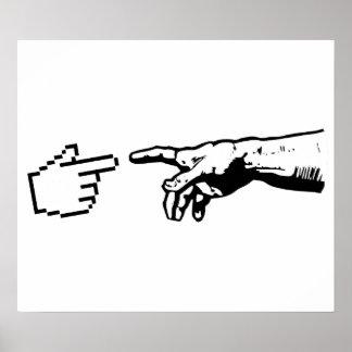Dios y las manos de la máquina póster