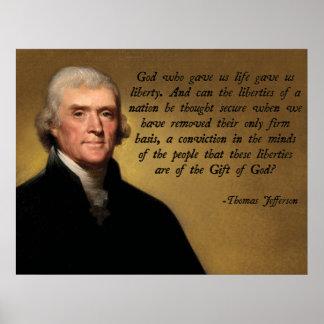Dios y libertad de Jefferson Posters