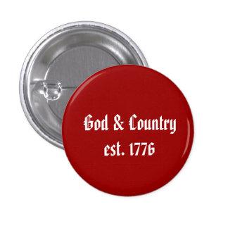 Dios y país, est. 1776 pin redondo 2,5 cm