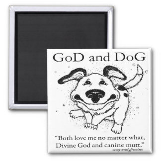 Dios y perro imán cuadrado