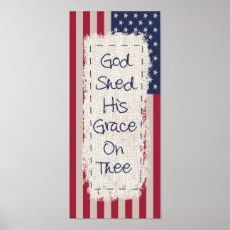 Dios y poster de la bandera de país