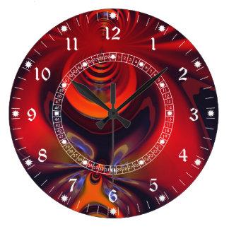 Diosa ambarina - rojo y placer del oro reloj redondo grande
