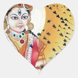 Diosa antigua de las ilustraciones del vintage de pegatina en forma de corazón