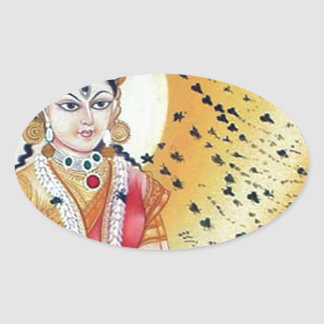 Diosa antigua de las ilustraciones del vintage de pegatina ovalada