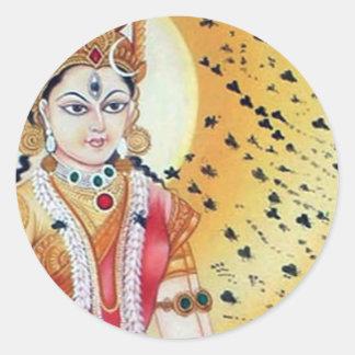 Diosa antigua de las ilustraciones del vintage de pegatina redonda