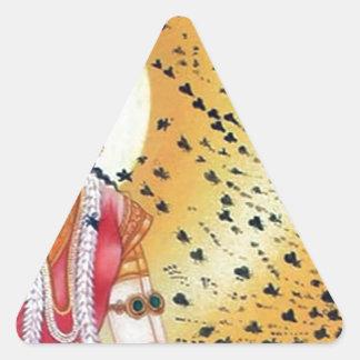 Diosa antigua de las ilustraciones del vintage de pegatina triangular