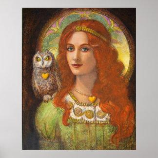 Diosa Athena, mujer y poster del arte de la fantas