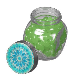 Diosa azul del hielo, cristales abstractos del frascos de cristal