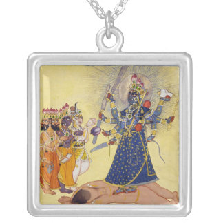 Diosa Bhadrakali adorado por dioses 1675 Colgante Cuadrado