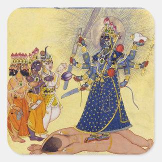 Diosa Bhadrakali adorado por dioses 1675 Pegatina Cuadrada