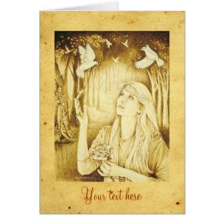 Diosa céltica de Etain con el pergamino y el texto Tarjeta De Felicitación
