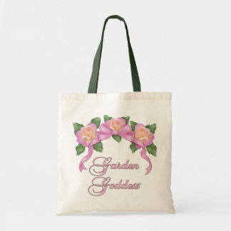 Diosa color de rosa del jardín de la bandera bolsa tela barata