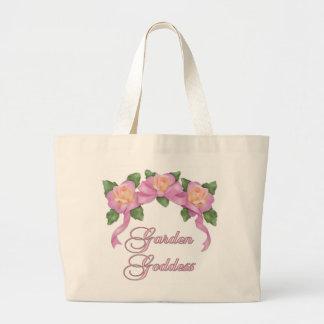 Diosa color de rosa del jardín de la bandera bolsa tela grande
