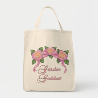 Diosa color de rosa del jardín de la bandera bolsa tela para la compra