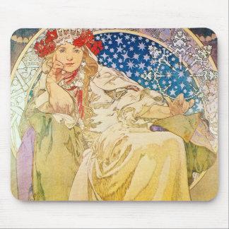 Diosa de Alfonso Mucha Mouse Pad