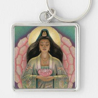 Diosa de Kuan Yin de la compasión Llavero Cuadrado Plateado