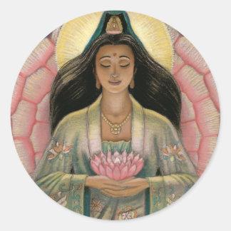 Diosa de Kuan Yin de la compasión Pegatina Redonda