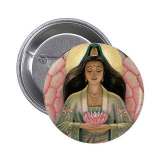Diosa de Kuan Yin de la compasión Pin Redondo De 2 Pulgadas