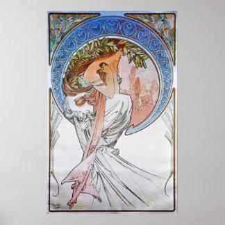 Diosa de la luna azul del vintage póster