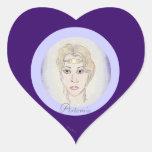 Diosa de la luna de Artemis Pegatina Corazon Personalizadas
