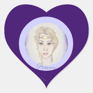 Diosa de la luna de Artemis Pegatina En Forma De Corazón