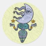 diosa de la luna pegatina redonda