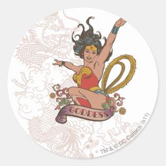 Diosa de la Mujer Maravilla Pegatinas Redondas