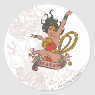 Diosa de la Mujer Maravilla Pegatina Redonda