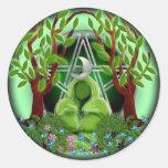 diosa de la naturaleza pegatina redonda