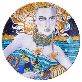 Diosa de la placa del mar platos de cerámica