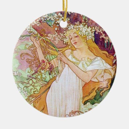 Diosa de la primavera adorno redondo de cerámica