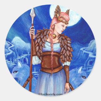 Diosa de los nórdises de Freya Pegatina Redonda