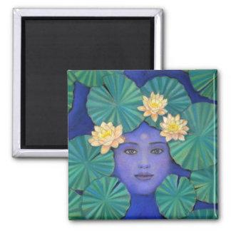 Diosa de Lotus Imán Cuadrado