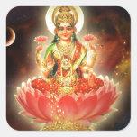 Diosa de Maa Maha Lakshmi Devi Laxmi de la riqueza Pegatina Cuadrada