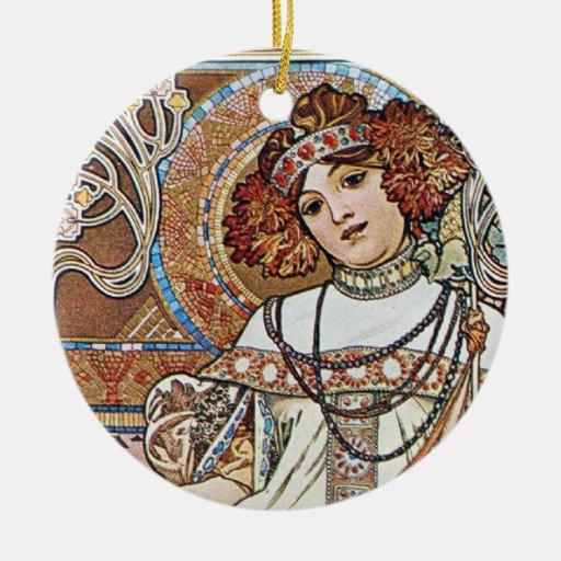 Diosa de Nouveau del arte Adorno Navideño Redondo De Cerámica